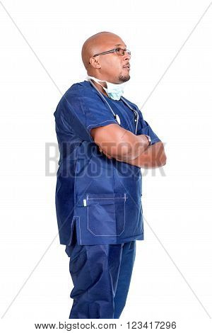 African descendant doctor isolated in white background