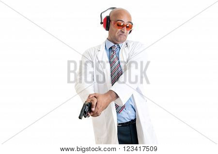 Investigator processing a hand gun isolated in white