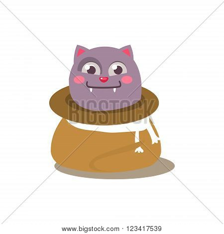 Cat Hiding In Sack Adorable Emoji Flat Vector Caroon Style Isolated Icon