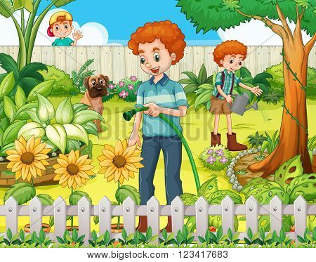 Father and son watering the plants in the garden illustration
