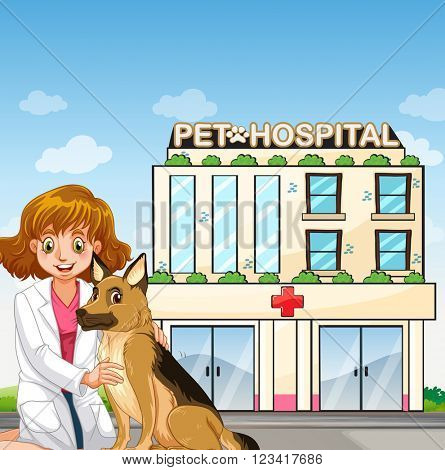 Vet and dog at teh animal hospital illustration