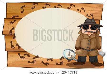 Frame design with spy and footprinted illustration