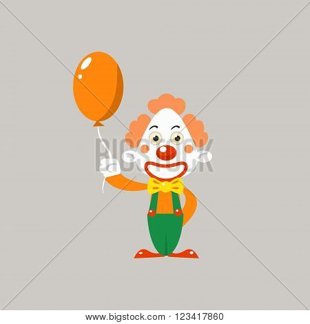 Happy Clown Holding Balloon Simplified Isolated Flat Vector Drawing In Cartoon Manner