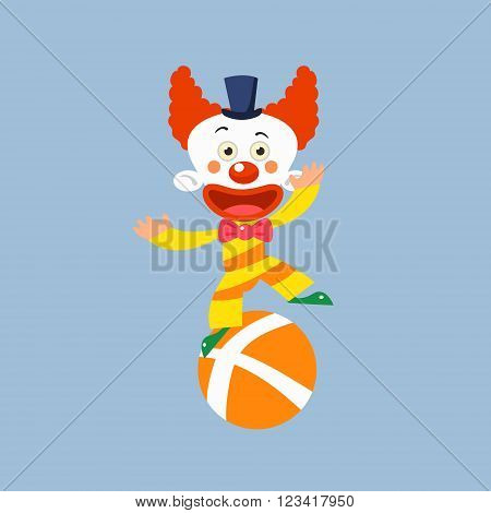 Clown Balancing On One Leg Simplified Isolated Flat Vector Drawing In Cartoon Manner