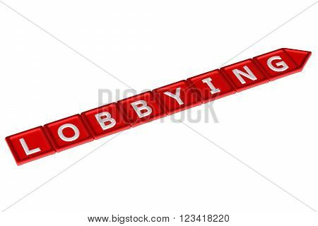 Blocks with word lobbying, isolated on white background. 3D render.