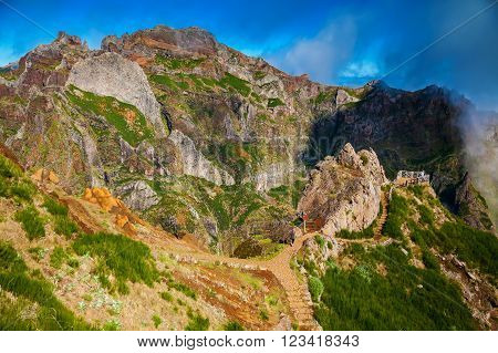 Pico do Arieiro landscape with trekking paths Madeira Portugal