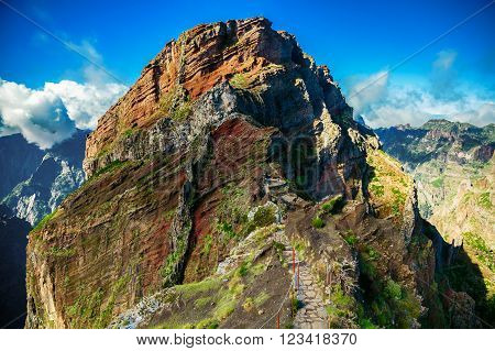 trekking path leading to the big cliff at the Pico do Arieiro surrounding areas Madeira Portugal