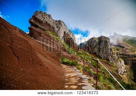 trekking path at the Pico do Arieiro - the third highest peak of Madeira Portugal