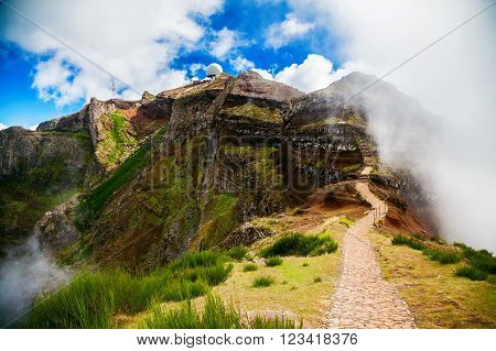trekking path leading to the third highest peak of Madeira - Pico do Arieiro