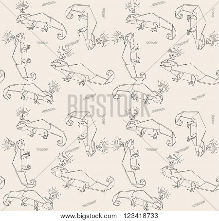 Thin Line Lizards And Crown. Paper Origami Style. Vector Seamless Pattern. Stylish Modern Print. Cute Background For Website Texture Fabric. Lizards As Pets. Lizard Squad. Lizards Origami.