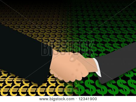 business handshake over euro and dollar symbols illustration
