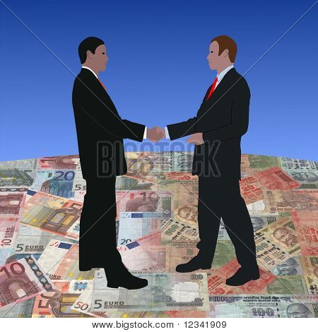 business men meeting on euros and Indian currency illustration