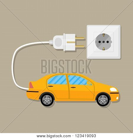 Yellow Electric Vehicle car with white plug. Charging eco car. vector illustration in flat design on brown background