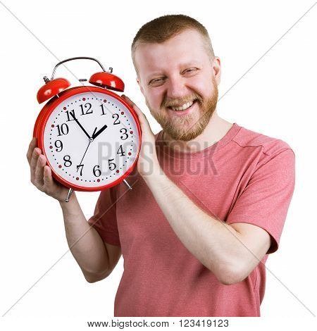 Funny bearded man with a red alarm clock