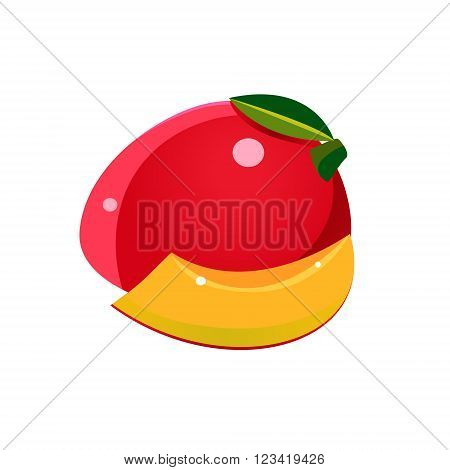 Mango Flat Vector Sticker Simplified Design Isolated On White Backgroung