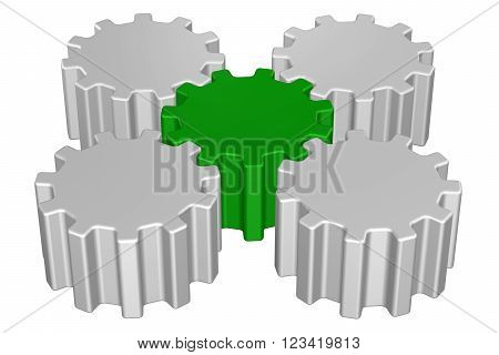 Concept: Leadership, isolated on white background. 3D render.