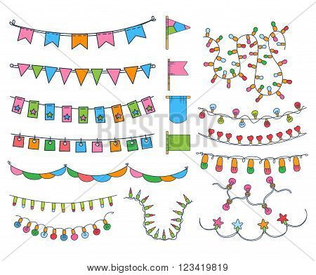 Collection OF Hand Drawn Garlands, Party Banners And Decor Elemants Isolated Flat Vector Illustrations