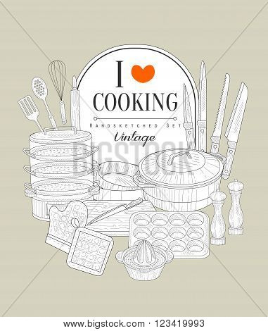 Cooking Utensils Vintage Vector Hand Drawn Design Card