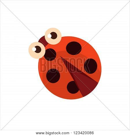 Ladybug From The Top Childish Character Isolated Flat Colorful Vector Icon On White Background