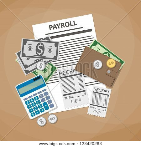 payroll concept. payroll invoice sheet, check receipt, calculator, leather wallet, money bills, coins. vector illustration in flat design on brown background