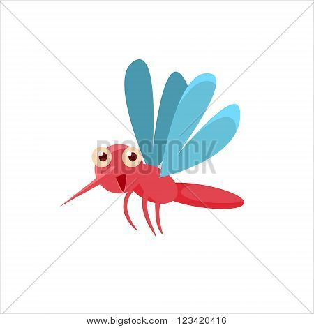 Mosquito Mid-air Childish Character Isolated Flat Colorful Vector Icon On White Background