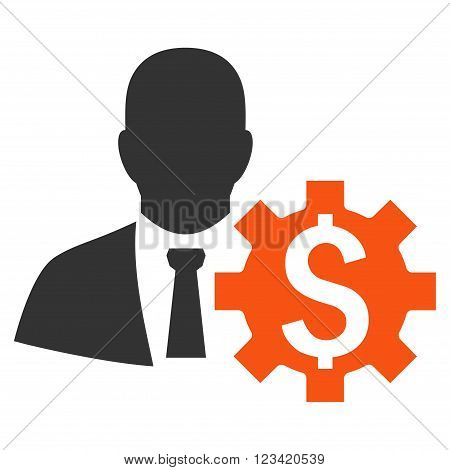 Banker Options vector icon. Style is bicolor flat symbol, orange and gray colors, white background.