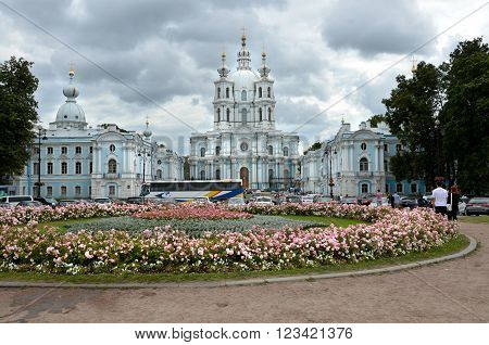 SAINT PETERSBURG / RUSSIA - July 16 2013: Smolny Convent of the Resurrection located on Ploschad Rastrelli on the bank of the River Neva