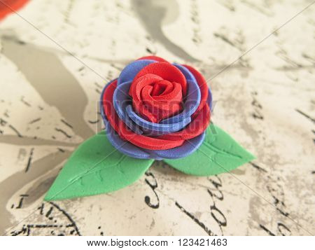 Pretty multicolored rose macro handmade rubber eva