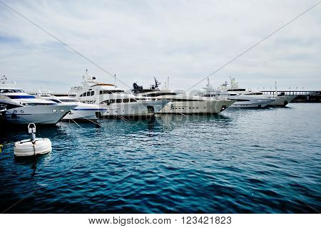 Luxury yachts in the Monte Carlo harbour Monaco Cote d'Azur