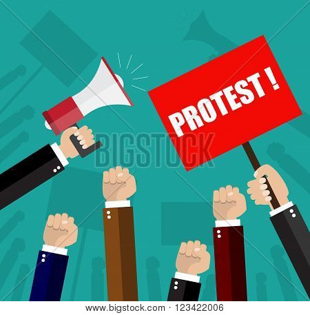 Cartoon hands of demonstrants and hand with Megaphone, protest concept, revolution, conflict, vector illustration in flat design on green background