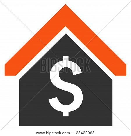 Loan Mortgage vector icon. Style is bicolor flat symbol, orange and gray colors, white background.