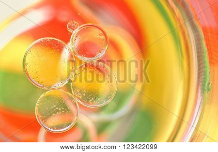Oil drops on a water surface with colors in background