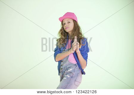 pop style caucasian girl on a white background