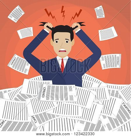 Stressed cartoon businessman in pile of office papers and documents tearing his hair out. Stress at work. Overworked. Vector illustration in flat design on red background.