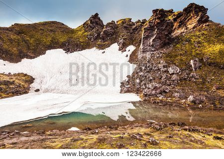 Big unmelted in July snowfield reflected in water. Summer morning in the National Park Landmannalaugar, Iceland