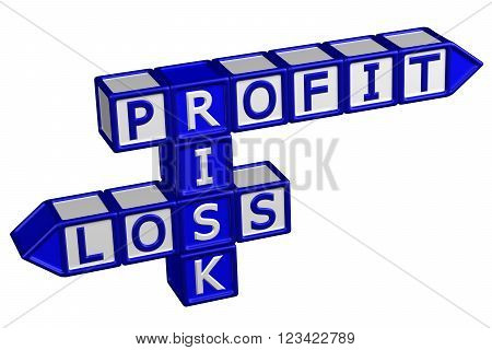 Blocks with word Profit Risk Loss isolated on white background. 3D render.