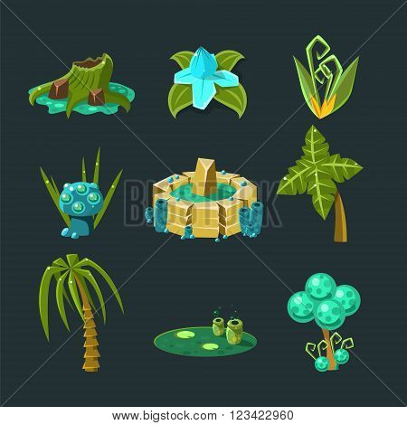 Landscape Elements Set For Video Game Creation In Fantasy Style Isolated Objects On Black Background