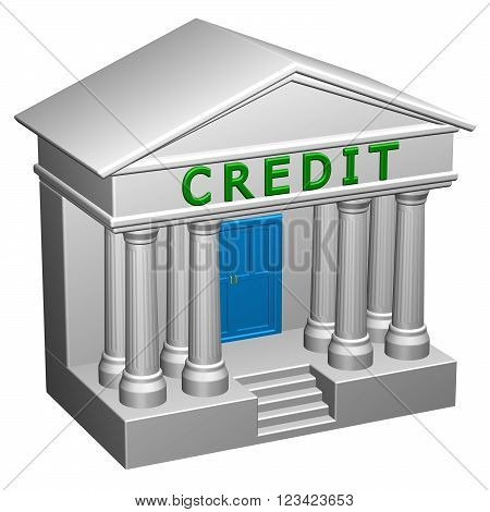 Concept : Credit isolated on white background. 3D render.