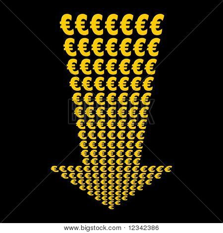 Euros symbol arrow pointing downwards illustration