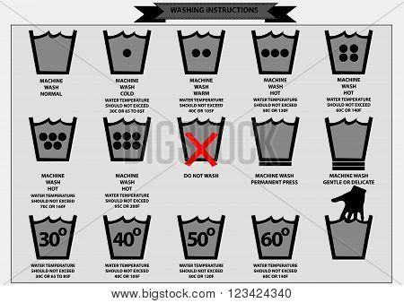 set of washing instruction symbols (wash, normal, cold, warm, hot, gentle, delicate) explained. flat vector illustration