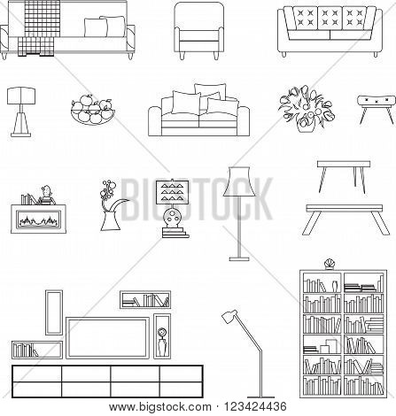 Home, Hotel Room Interior Vector U0026 Photo | Bigstock Living Room Outline