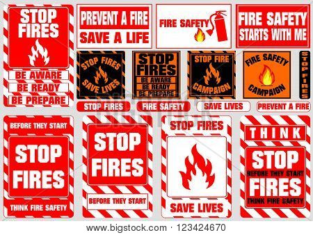 set of stop fire symbols (be aware, be ready, be prepare, save lives, fire safety, prevent fire, campaign) flat vector illustration