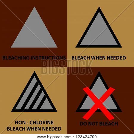 set of bleaching instruction symbols to be use on laundry.  flat vector illustration