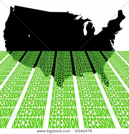 USA map sinking into recession text illustration