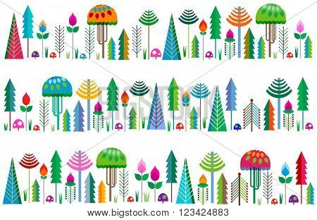 forest borders with colorful whimsy trees