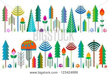 borders colorful whimsy trees