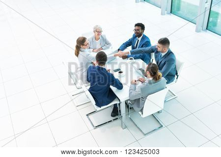 Meeting business people in office