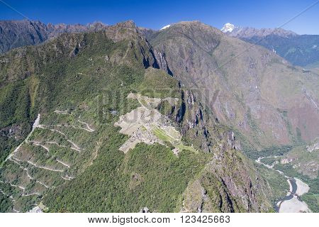 Panorama View Of Machu Picchu From The Top Of The Peak In  Peru