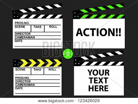 set of movie clapper board. flat vector illustration
