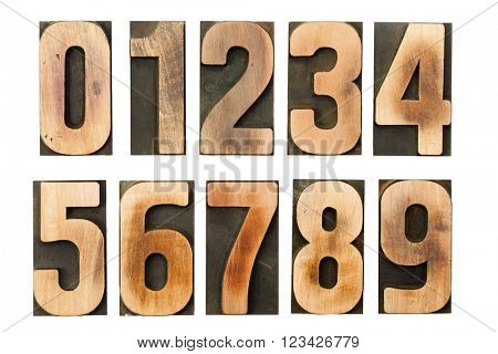 Complete set of western arabic letterpress printing block numerals isolated on white background